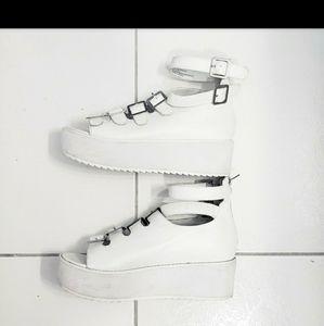 Y.R.U. Vegan White Leather Sandal Platforms